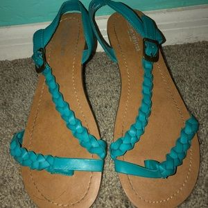 Turquoise Strappy Sandals with braided detailing
